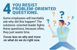 solution oriented leaders resist problem orientated questions